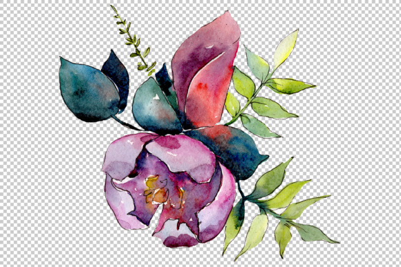 Print on Demand: Bouquet of Tropical Flowers PNG Watercolor Graphic Illustrations By MyStocks - Image 3