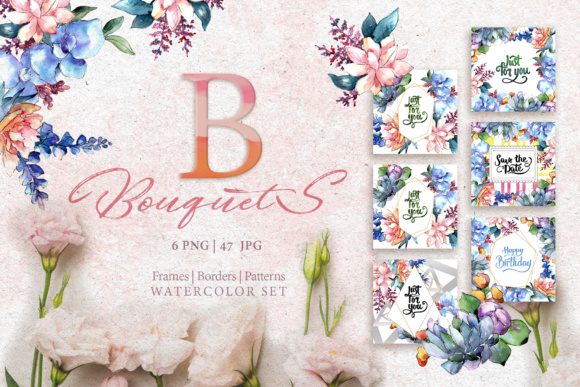 Print on Demand: Bouquets Flowers Set Watercolor Graphic Illustrations By MyStocks