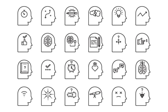 Print on Demand: Brain Process Icons Set Graphic Icons By RE stock