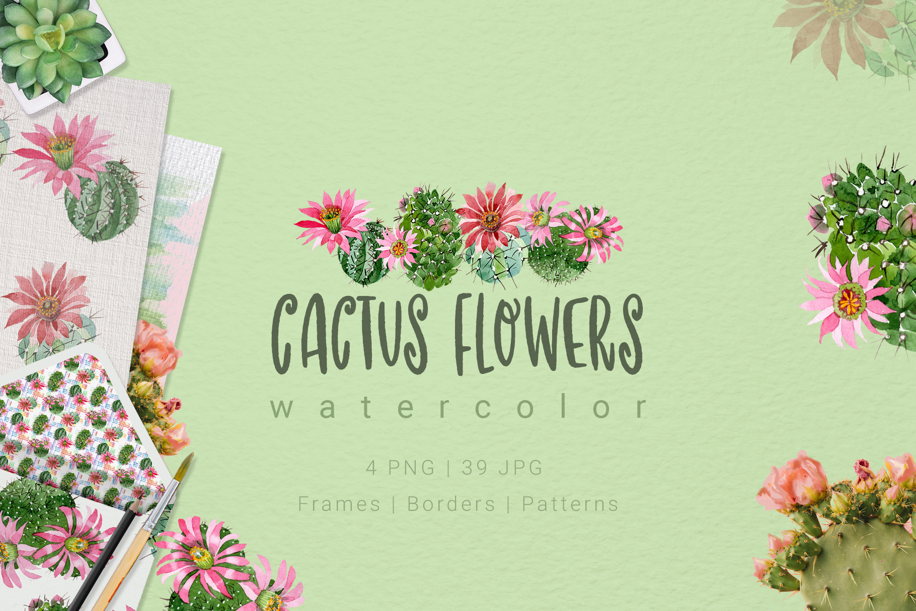 Download Free Cactus Flowers Watercolor Set Graphic By Mystocks Creative Fabrica for Cricut Explore, Silhouette and other cutting machines.
