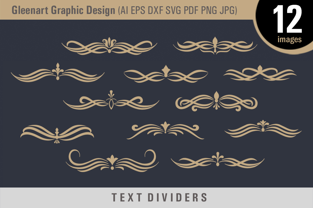 Download Free Calligraphic Text Divider Elements Grafik Von Gleenart Graphic for Cricut Explore, Silhouette and other cutting machines.