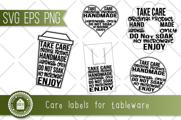 Download Free Care Labels For Tableware With Decal Graphic By Boertiek Creative Fabrica for Cricut Explore, Silhouette and other cutting machines.