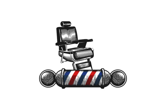 Chair Barber Pole Barber Shop Logo Graphic By