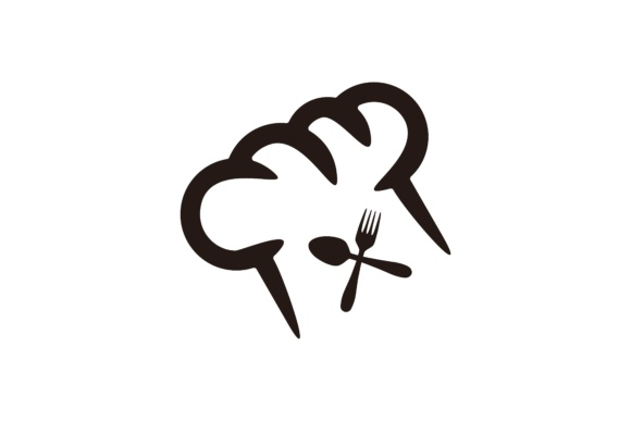 Download Free Chef Hat And Crossed Spoon And Fork Logo Graphic By for Cricut Explore, Silhouette and other cutting machines.