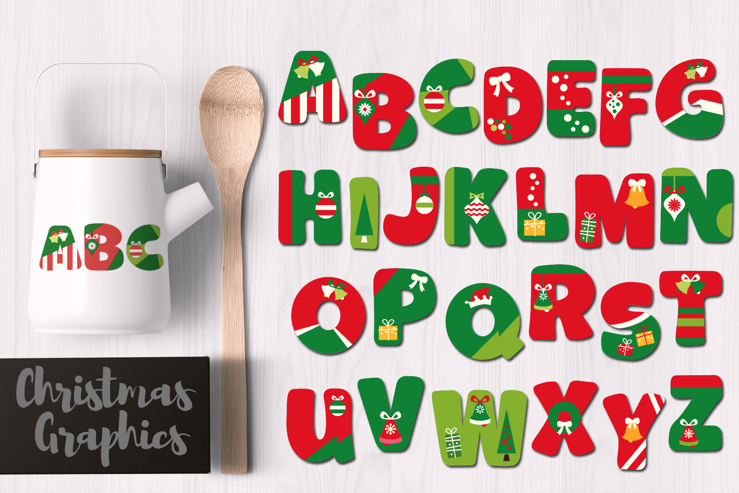 Download Free Christmas Alphabet Graphic By Revidevi Creative Fabrica for Cricut Explore, Silhouette and other cutting machines.