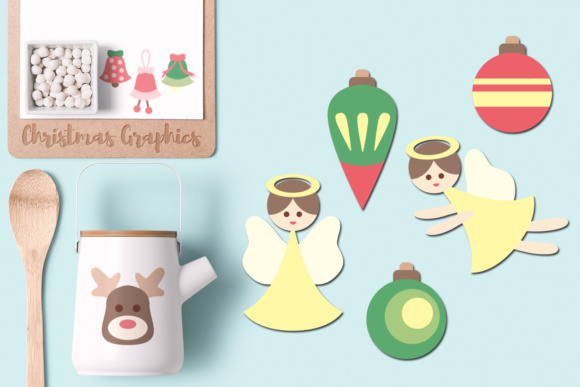 Download Free Christmas Angels Bells Reindeer Ornaments Graphic By Revidevi for Cricut Explore, Silhouette and other cutting machines.