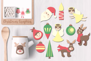 Christmas Angels, Bells, Reindeer, Ornaments Graphic By Revidevi