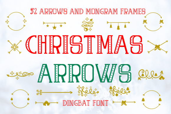 Print on Demand: Christmas Arrows Dingbats Font By Illustrator Guru