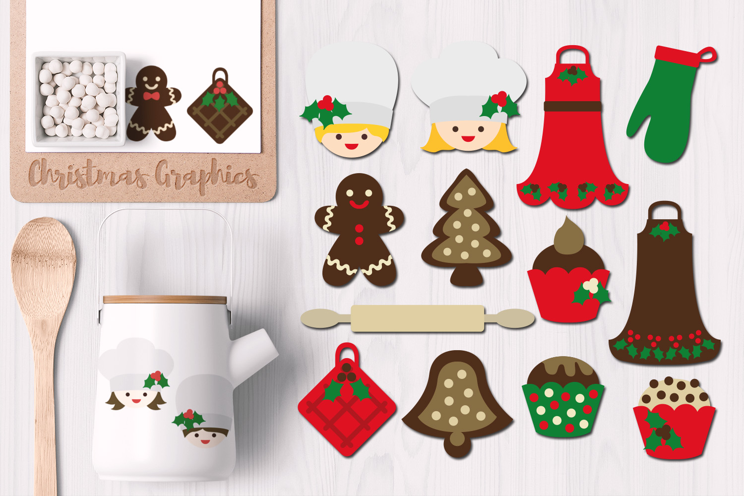 Download Free Christmas Baking Graphic By Revidevi Creative Fabrica for Cricut Explore, Silhouette and other cutting machines.