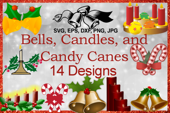 Print on Demand: Christmas Bells, and Candy Canes Bundle Graphic Illustrations By Quiet Deluxe Digital