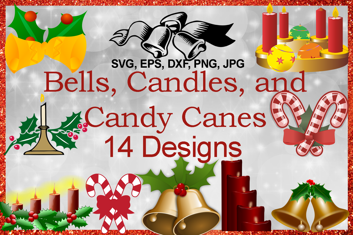 Download Free Christmas Bells And Candy Canes Bundle Graphic By Quiet Deluxe for Cricut Explore, Silhouette and other cutting machines.