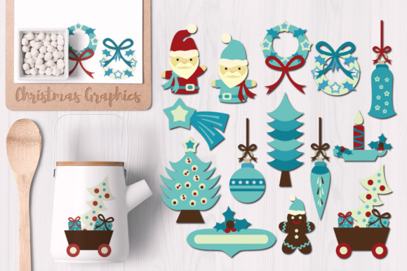 Print on Demand: Christmas Breeze Blue Graphic Illustrations By Revidevi