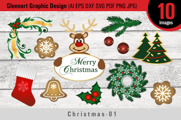Download Free Christmas Bundle Clipart Graphic By Gleenart Graphic Design for Cricut Explore, Silhouette and other cutting machines.