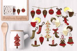 Christmas Classic, Angels and Ornaments Graphic By Revidevi
