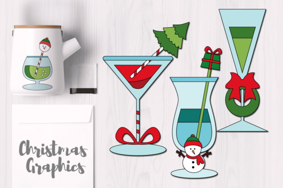 Print on Demand: Christmas Cocktail Drinks Graphic Illustrations By Revidevi