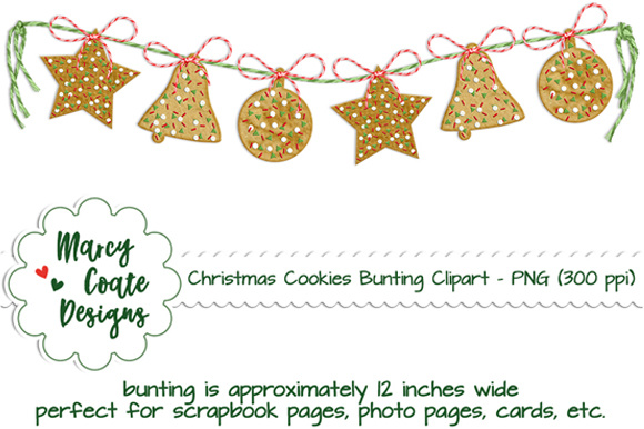 Download Free Christmas Cookies Bunting Graphic By Marcycoatedesigns for Cricut Explore, Silhouette and other cutting machines.