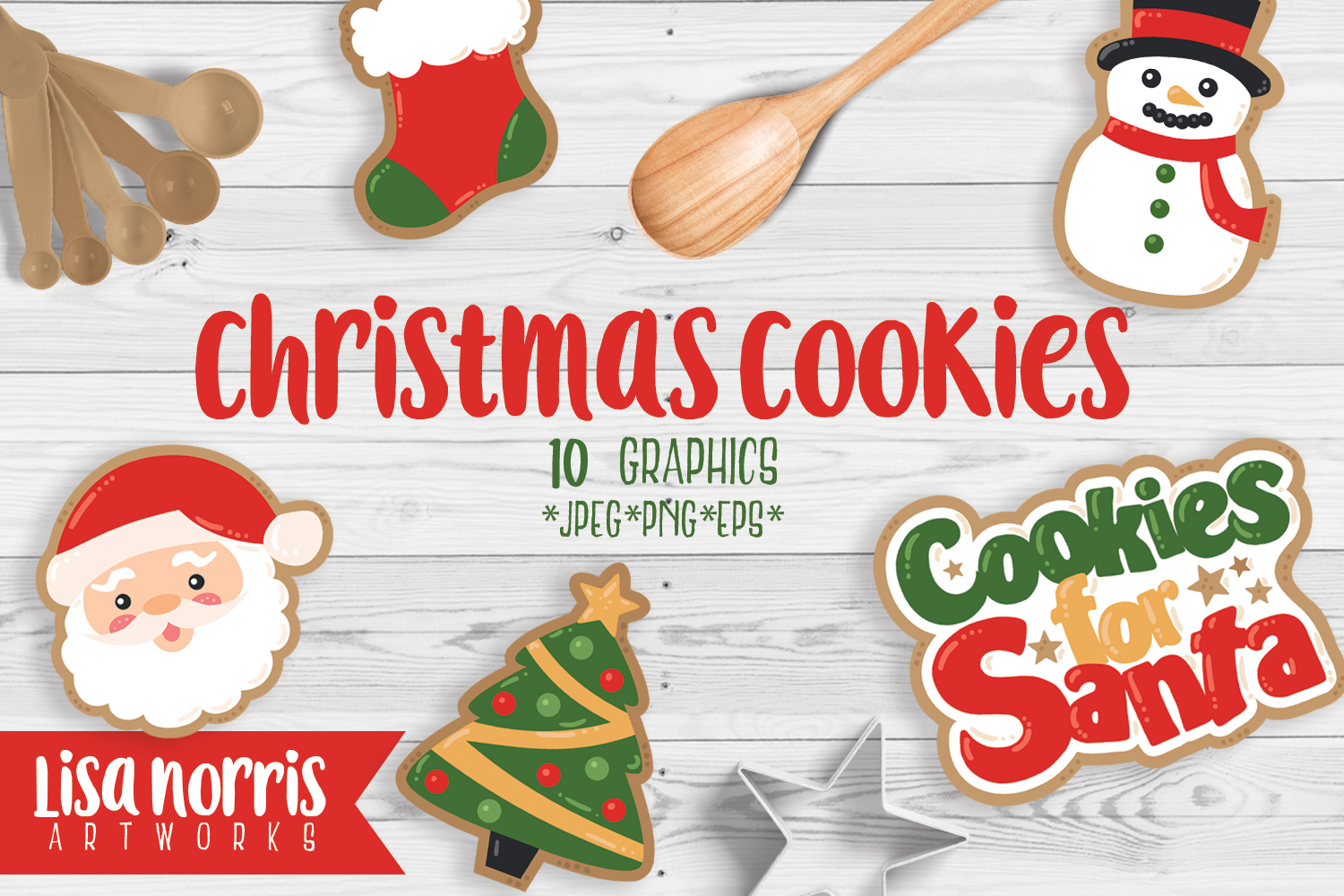 Download Free Christmas Cookies Clip Art Graphics Graphic By Lisa Norris for Cricut Explore, Silhouette and other cutting machines.