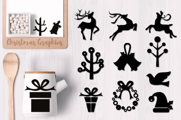 Print on Demand: Christmas Day Black Silhouette Graphic Illustrations By Revidevi