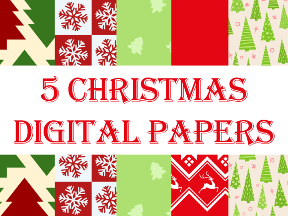 Print on Demand: Christmas Digital Papers Mini Bundle Graphic Backgrounds By Quiet Deluxe Digital