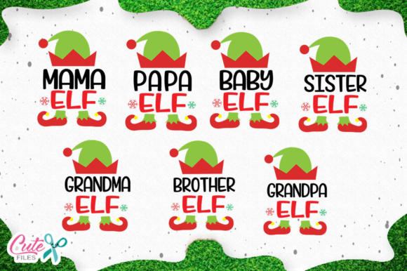 Download Free Christmas Family Elf Cuts Files For Craftters Graphic By Cute for Cricut Explore, Silhouette and other cutting machines.