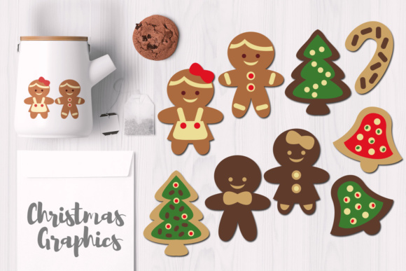 Download Free Christmas Gingerbread Cookies Graphic By Revidevi Creative Fabrica for Cricut Explore, Silhouette and other cutting machines.