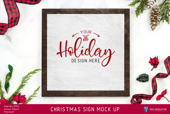 Christmas, Holiday Sign Mock Ups, 2 VERSIONS! Styled Photos Graphic Product Mockups By maemiddletonstudio