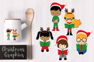 Christmas Kid Reading Book Graphic By Revidevi