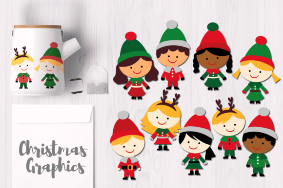 Print on Demand: Christmas Kids Multiracial Graphic Illustrations By Revidevi