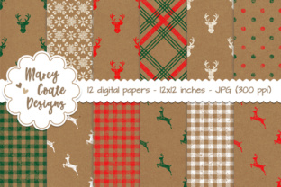 Christmas Kraft Paper Backgrounds Graphic By MarcyCoateDesigns