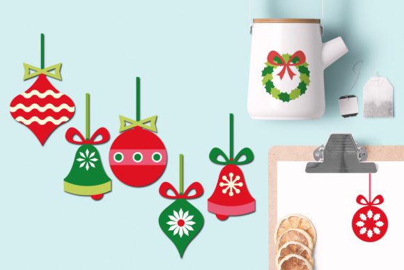 Print on Demand: Christmas Ornaments, Wreath, Bells Graphics Graphic Illustrations By Revidevi - Image 2