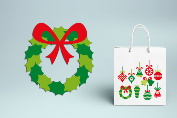 Print on Demand: Christmas Ornaments, Wreath, Bells Graphics Graphic Illustrations By Revidevi - Image 3