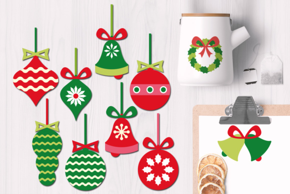 Print on Demand: Christmas Ornaments, Wreath, Bells Graphics Graphic Illustrations By Revidevi