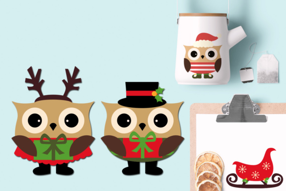 Download Free Christmas Owls Graphic By Revidevi Creative Fabrica for Cricut Explore, Silhouette and other cutting machines.