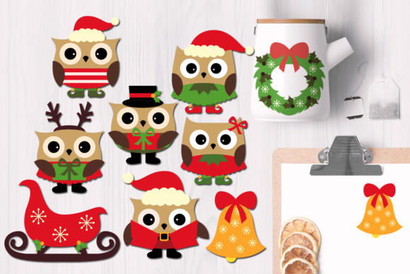 Print on Demand: Christmas Owls Graphic Illustrations By Revidevi