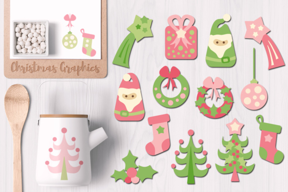 Print on Demand: Christmas Pink Green Lime Graphic Illustrations By Revidevi