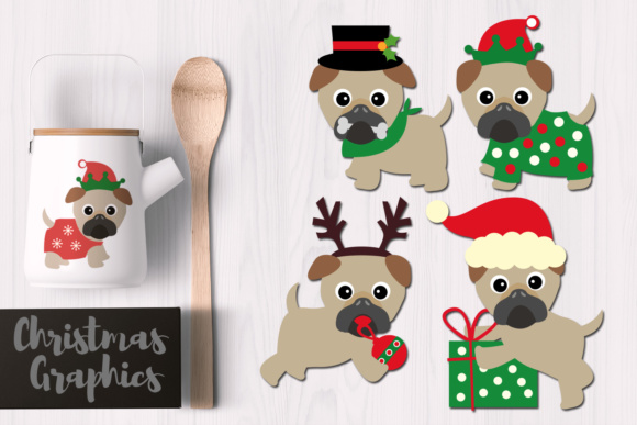 Print on Demand: Christmas Pugs Graphic Illustrations By Revidevi