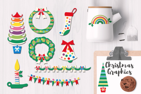 Print on Demand: Christmas Rainbow Party Graphics Graphic Illustrations By Revidevi