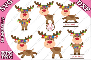 Download Free Christmas Reindeer Set Graphic By Littlekikishop Creative Fabrica for Cricut Explore, Silhouette and other cutting machines.