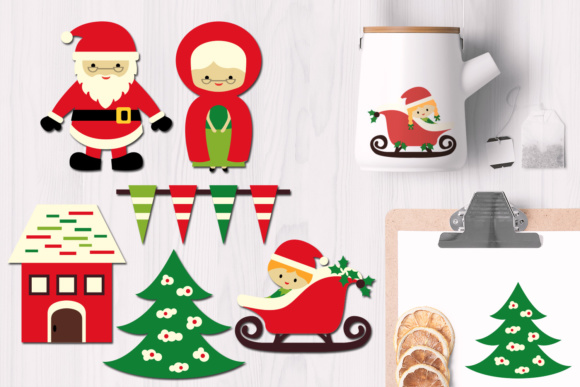 Print on Demand: Christmas Santa and Mrs. Claus Graphic Illustrations By Revidevi