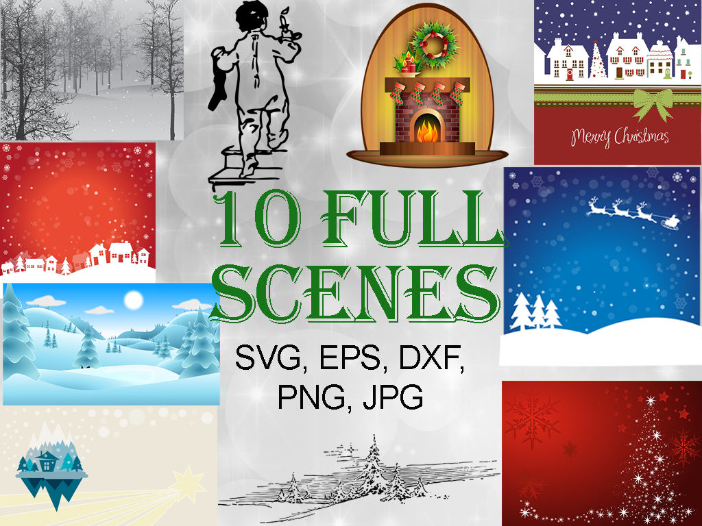 Download Free Christmas Scenes Bundle Graphic By Quiet Deluxe Digital for Cricut Explore, Silhouette and other cutting machines.