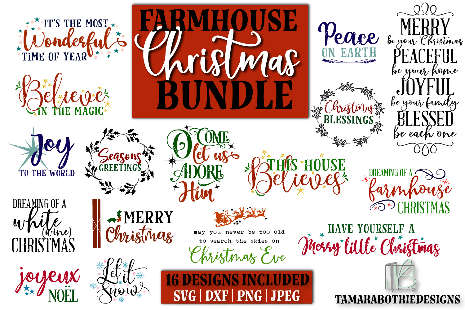 Download Free Christmas Sign Bundle Graphic By Tamarabotriedesigns Creative Fabrica for Cricut Explore, Silhouette and other cutting machines.