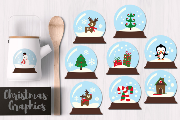 Print on Demand: Christmas Snow Globes Graphic Illustrations By Revidevi