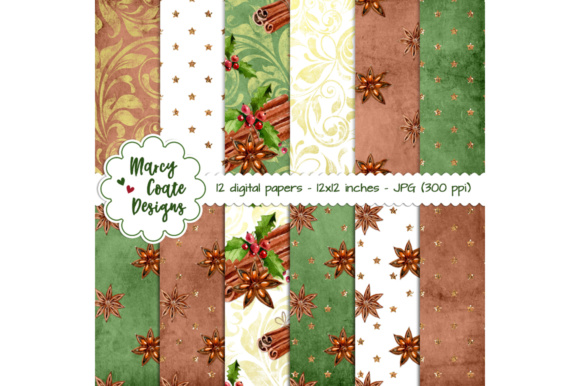 Christmas Spice Backgrounds Graphic Backgrounds By MarcyCoateDesigns