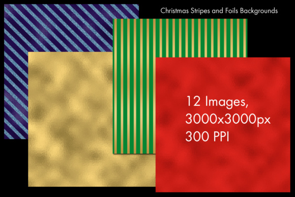 Print on Demand: Christmas Stripes and Foils Backgrounds - 12 Image Set Graphic Backgrounds By SapphireXDesigns - Image 2
