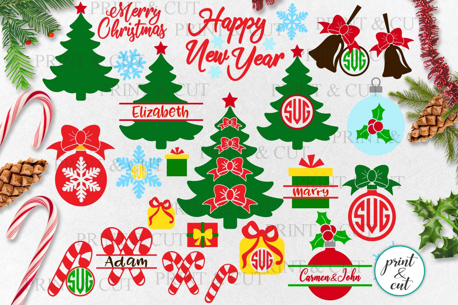 Download Free Christmas Bundle Graphic By Cornelia Creative Fabrica for Cricut Explore, Silhouette and other cutting machines.