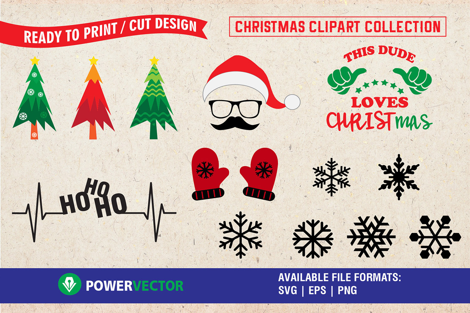 Download Free Christmas Clipart Collection Graphic By Powervector Creative for Cricut Explore, Silhouette and other cutting machines.