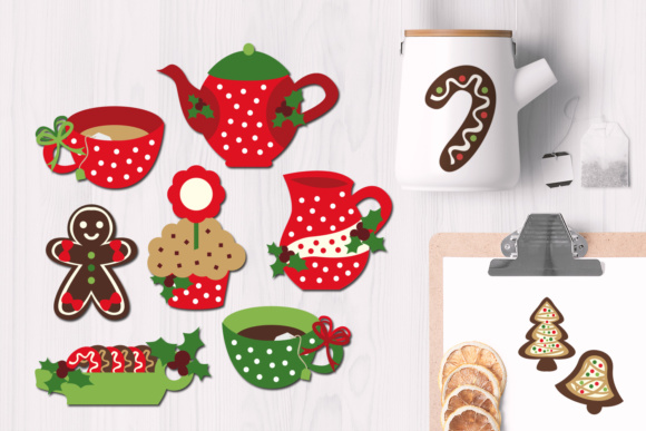 Download Free Christmas Tea Party With Gingerbread Cookies Graphic By Revidevi Creative Fabrica for Cricut Explore, Silhouette and other cutting machines.