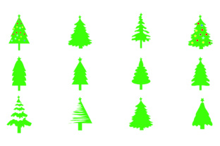 Download Free Christmas Tree Bundle 12 Graphic By Bluestar Creatives for Cricut Explore, Silhouette and other cutting machines.