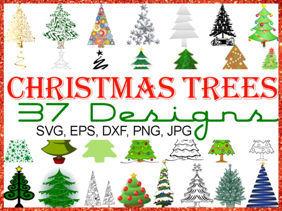 Download Free Christmas Tree Bundle 37 Designs Graphic By Quiet Deluxe for Cricut Explore, Silhouette and other cutting machines.