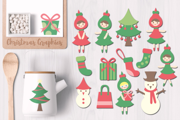 Print on Demand: Christmas Tree, Girls, and Gift Graphic Illustrations By Revidevi